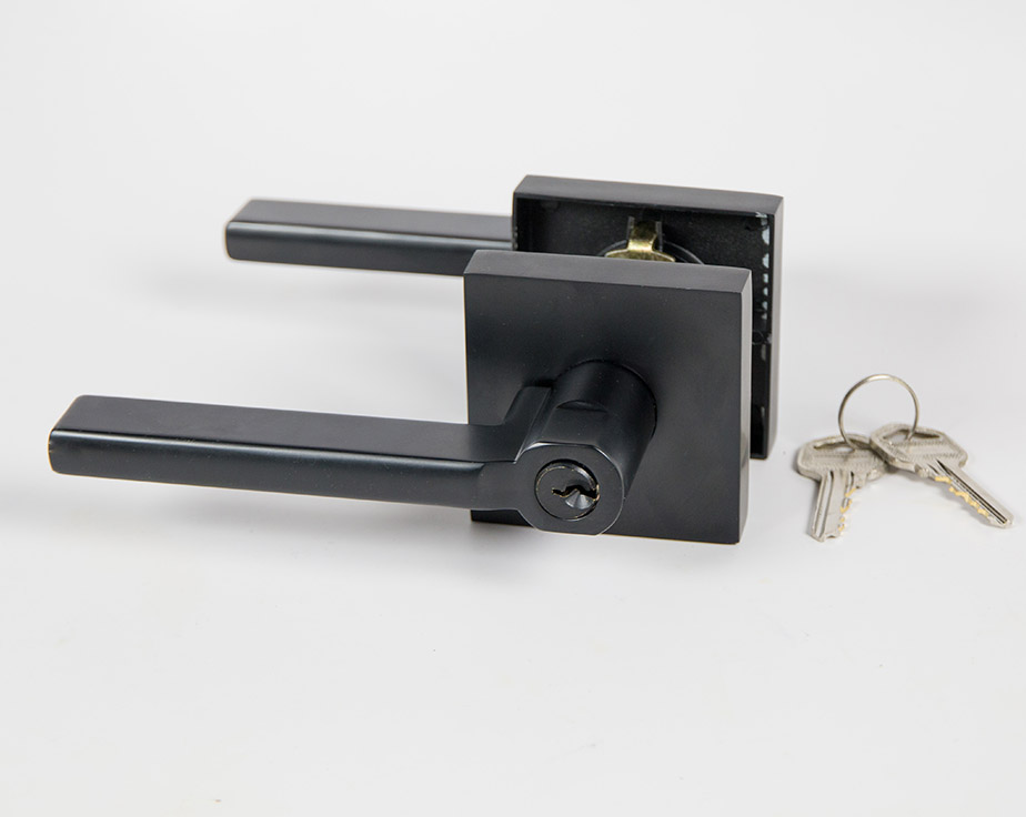Halifax Square Door Handle Lever Lock Set With Push Button