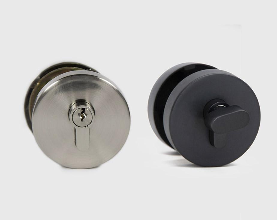 deadbolt black round pair