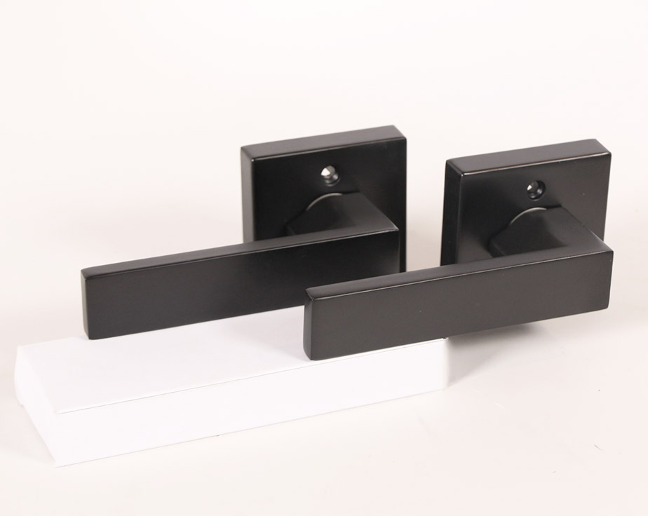 Lisbone Square Rose Door Handle Lever Lock Set Modern