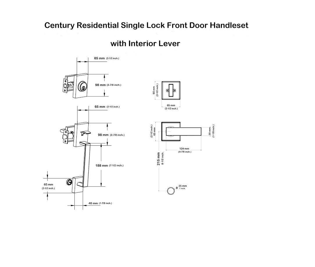 Century Residential Single Lock Entry Door Handleset With