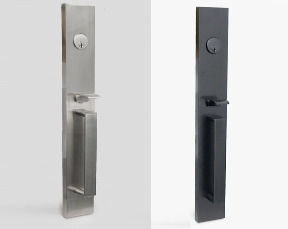 long-plate-main & Full Plate Mortise Front Door Handleset with Interior Lever ...