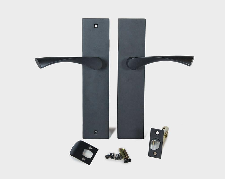 Modern Long Plate Breeze Door Handle Lever Set Satin Nickel / Black ...