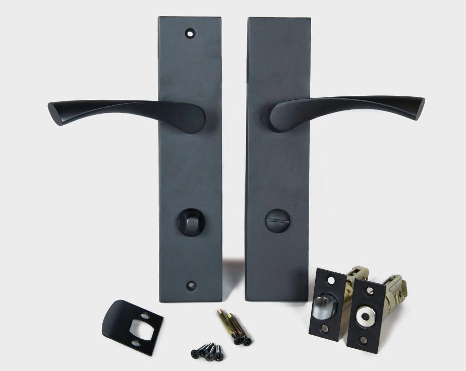 Breeze Modern Long Backplate Door Handle Lever Set Satin