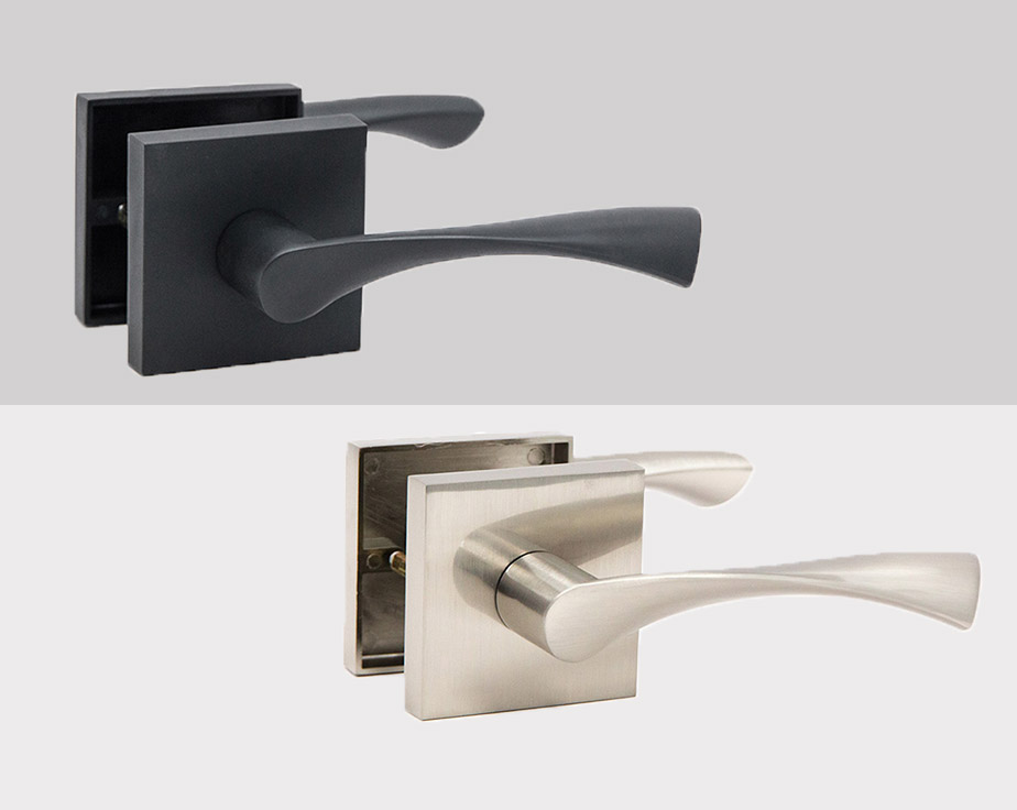 Breeze Square Rosette Interior Door Handle Lever Lock Set