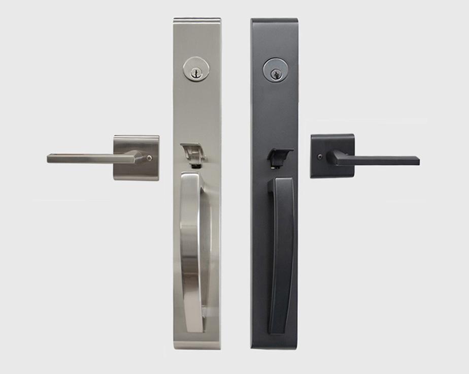 Orion Full Plate Entry Door Handleset With Interior Lever Toronto Door Hardware Door Levers And Door Handles