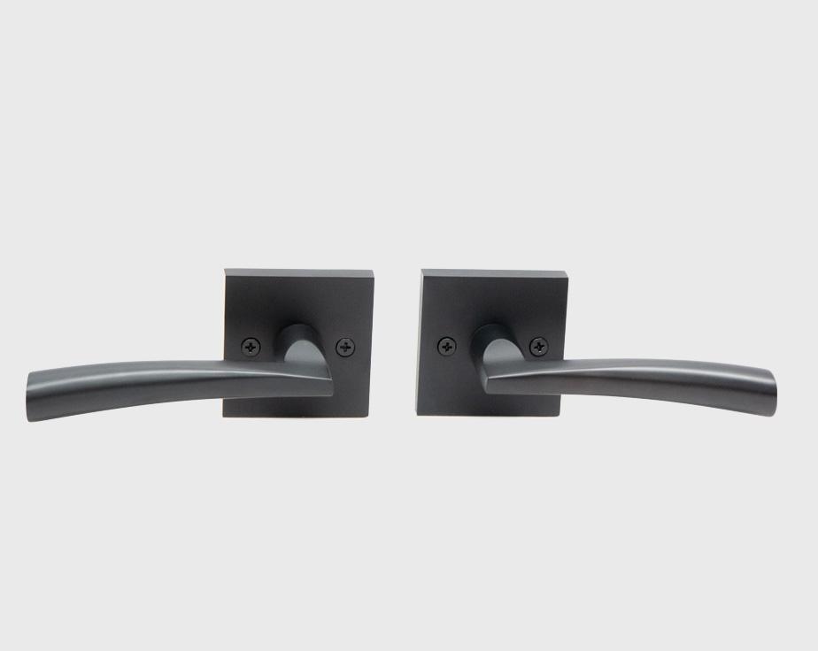 Accent Square Rosette Interior Door Handle Lever Lock Set