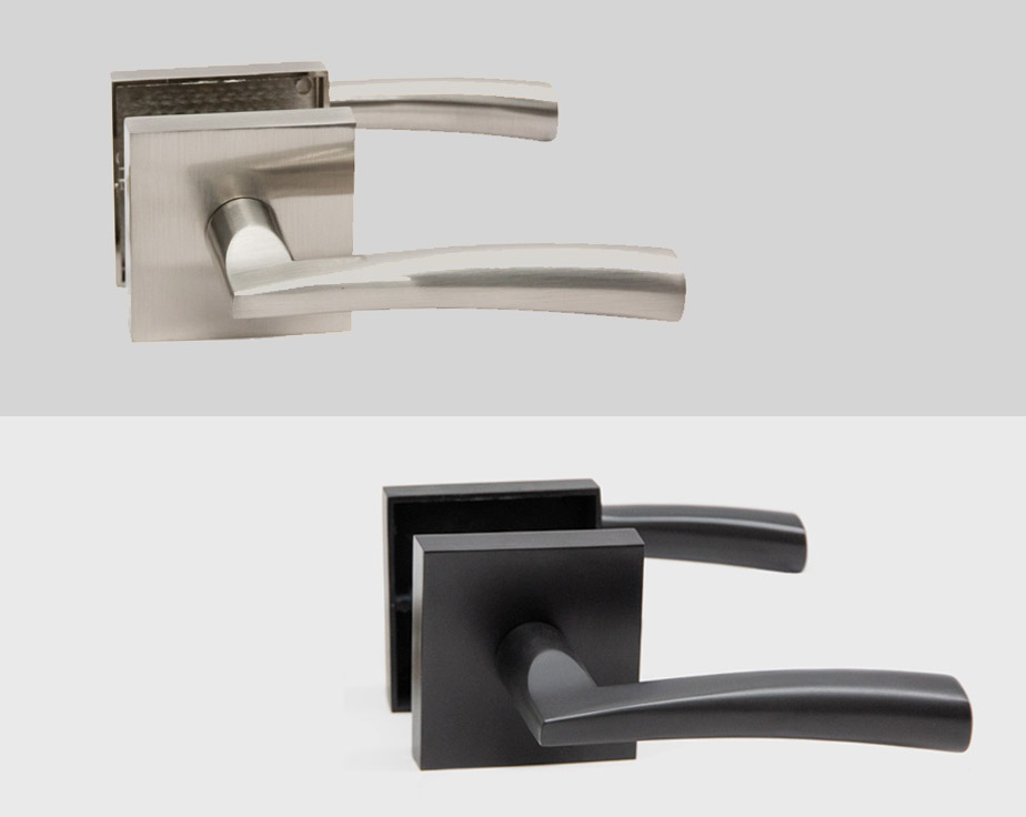 Accent Square Rosette Interior Door Handle Lever Lock Set